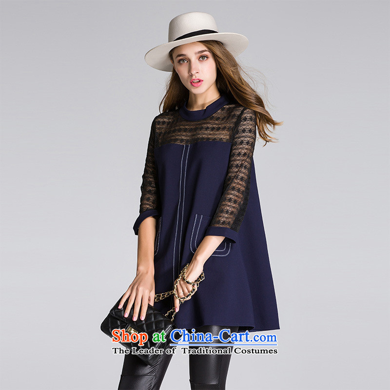 The main European site fall 2015 high-end female lace stitched cotton knit collar 7 Cuff A relaxd T-shirt black T-shirt?L