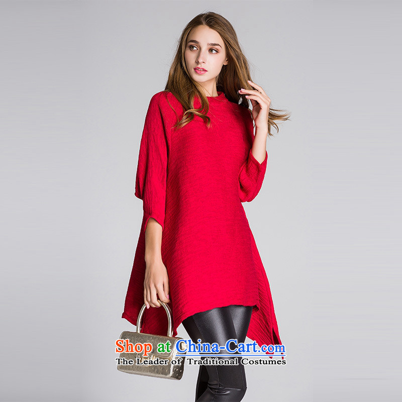 The main European and American Women's autumn 2015 round-neck collar 7 cuff does not rule under the loose coat T-shirts pure color red?L
