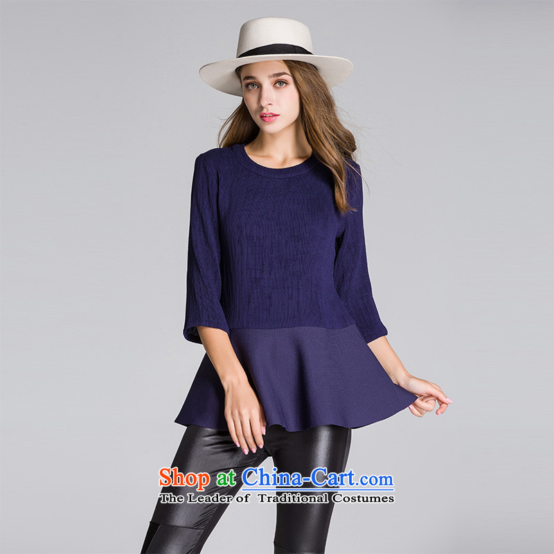 The main 2015 autumn and winter new European and American women wear T-shirt with round collar 7 knitting T-shirt-sleeves Sau San deep blue shirt?XL