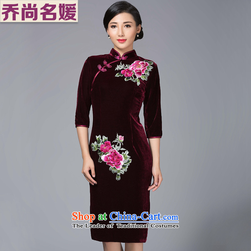 Joe was aristocratic cheongsam dress banquet Kim velvet mother Tang dynasty in long SRXH007 Embroidery