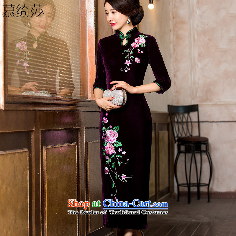 The cross-SA-picture information for?autumn and winter 2015 scouring pads cheongsam dress seven long-sleeved banquet Sau San qipao skirt?HY 7119?purple?M