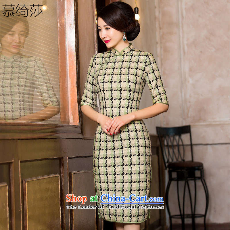 The cross-SHA YA intended for autumn and winter wool? cheongsam dress in thick cuff Sau San grid in the long hair? cheongsam dress female燞Y 8101爌icture color燲L