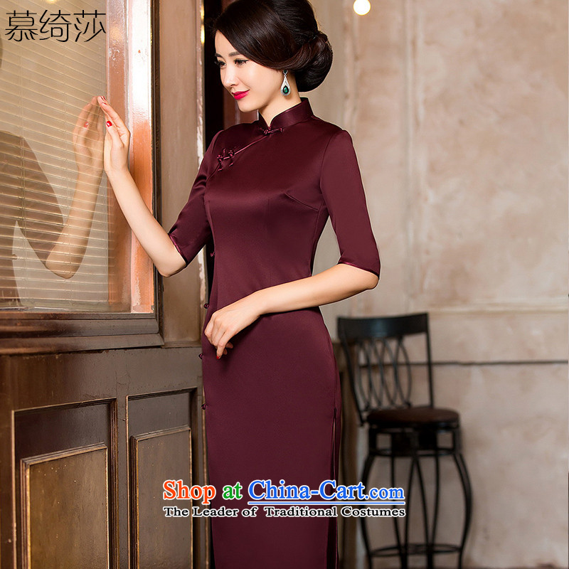 The cross-sa. If the autumn and winter classic high cheongsam dress Solid Color Sau San long qipao improved banquet skirt?HY 8102?Magenta?XL