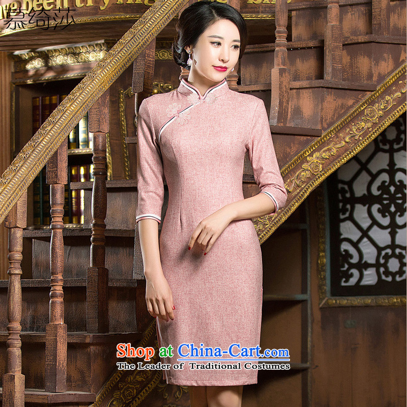 The cross-sa toner Doi wool? cheongsam dress in winter) cuff long retro-thick hair cheongsam dress?  �QD 310�pink�S