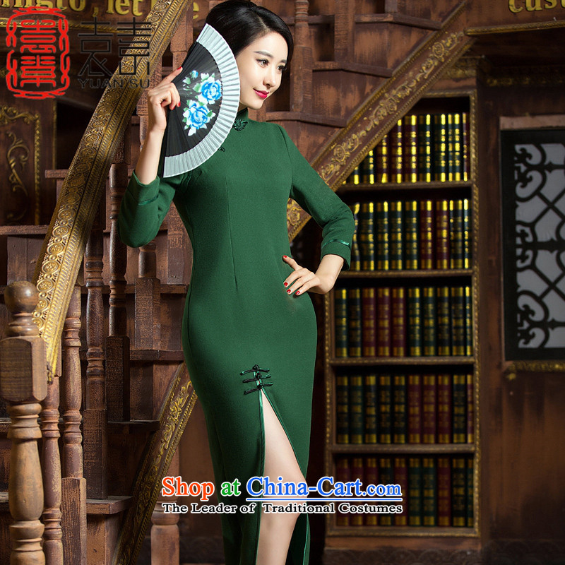 Yuan of a moon in the water?2015 winter long qipao retro improved gross cheongsam dress? The New Classic, the forklift truck?QD312 before dress?green?L