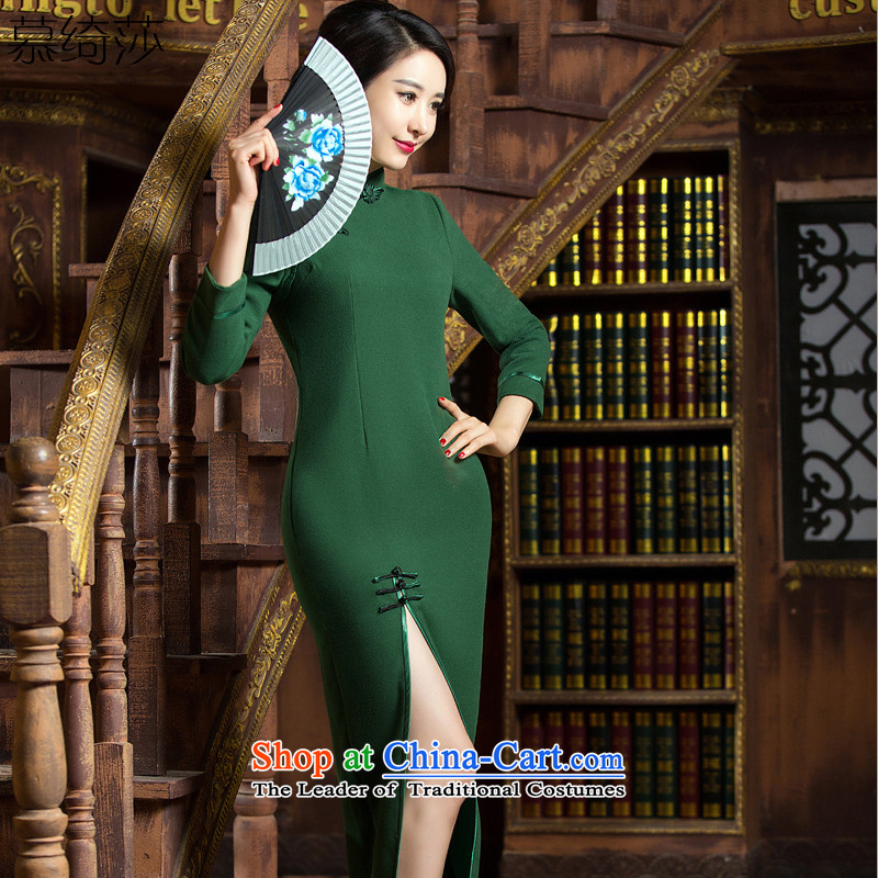 The cheer her green rong autumn and winter wool? cheongsam dress new retro before opening the forklift truck gross qipao? skirts Sau San?QD 312?Army green?L