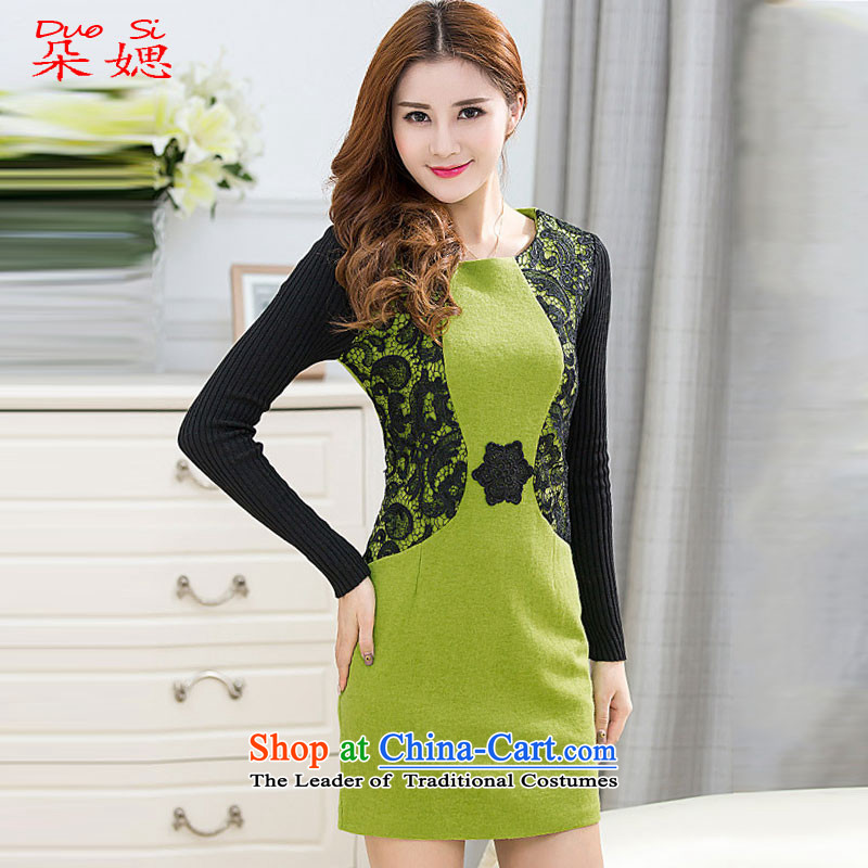 �2015 Autumn and winter flower ? new improved stylish Ms. Aura Sau San-to-day long-sleeved cheongsam dress forming the a green�L