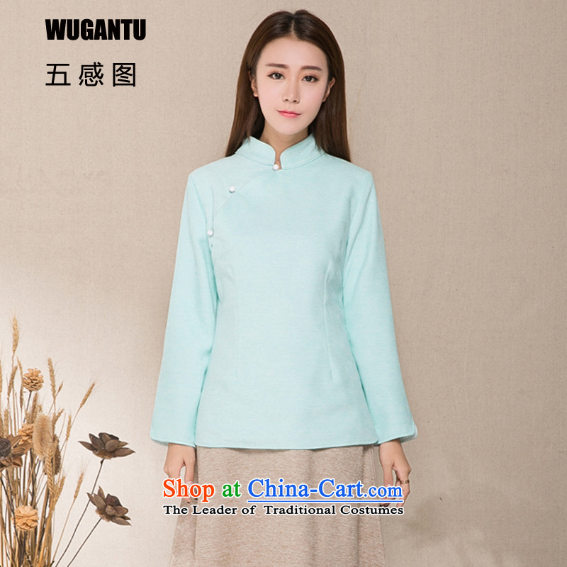 The five senses figure for autumn and winter by the new chinese women China wind of ethnic Han-Tang dynasty improved gross shirt? short two kits cheongsam dress WGT1296 SKYBLUE L
