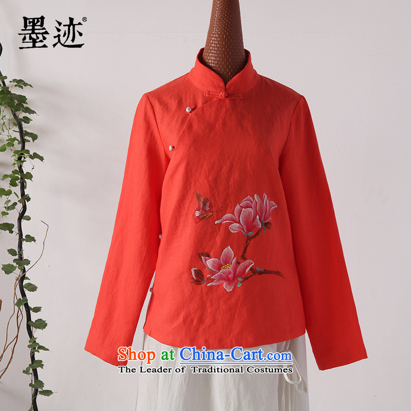 Ink 2015 autumn and winter linen clothes New hand-painted wood cotton shirt leisure retro Chinese improved Han-girl Tangerine Orange�XL