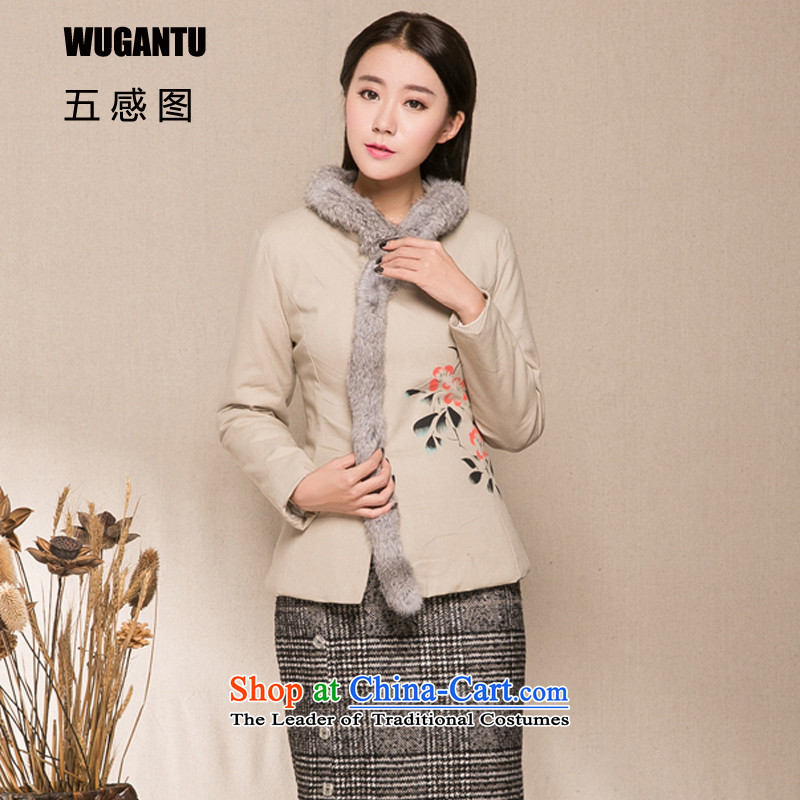 The five senses figure improved cheongsam dress winter jackets cotton linen hand painted Chinese Wind ?t��a cotton coat female clothes? body skirt two gross kit female apricot?L