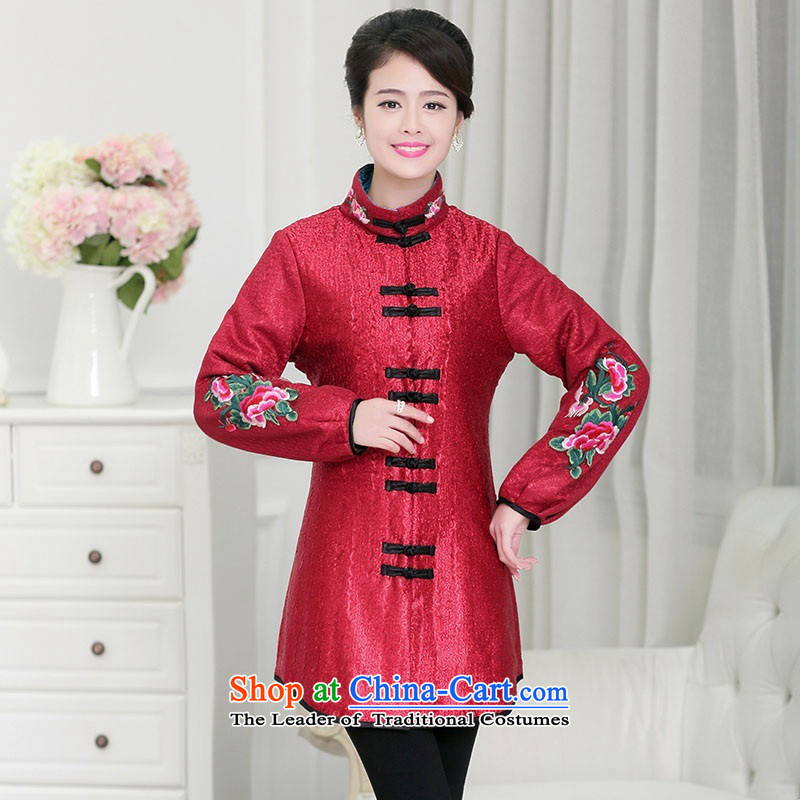 2015 Autumn and winter middle-aged ladies MOM pack for winter coat silk creases stylish collar in long cotton coat in Tang Dynasty warm jacket older Embroidery Stamp Algeria sub BOURDEAUX?XXXL