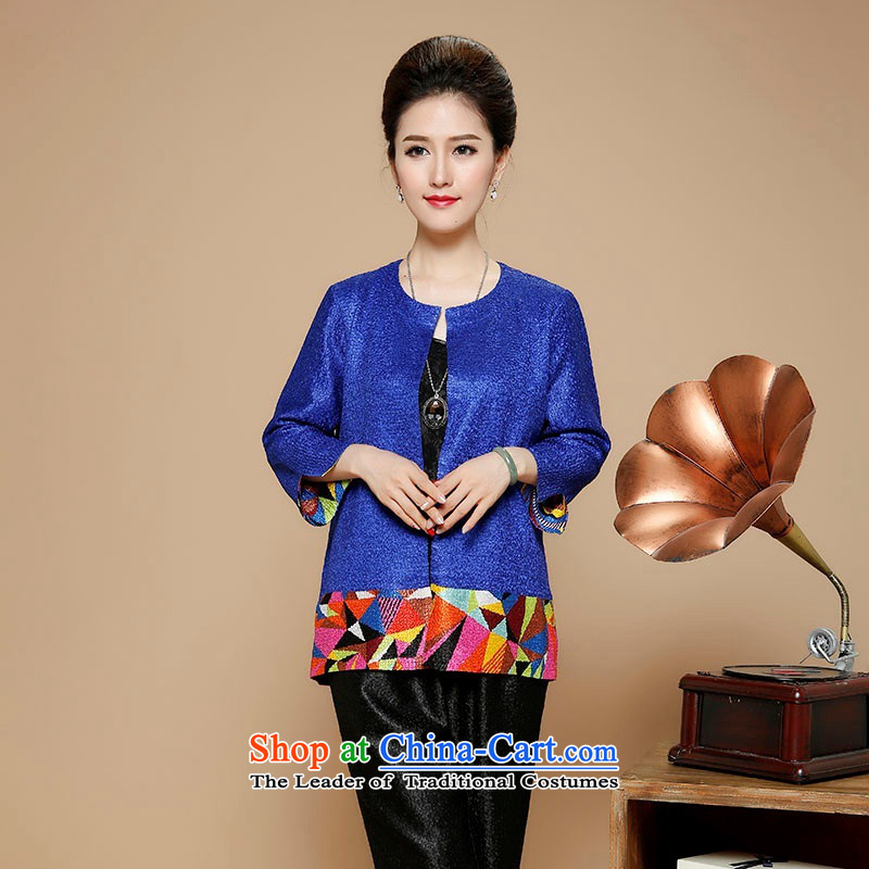 2015 Autumn and winter middle-aged ladies silk linen short jacket, the elderly in the stylish round-neck collar mother Tang dynasty replacing ?t��a autumn and winter Sleek and versatile minimalist cardigan female black?XXL