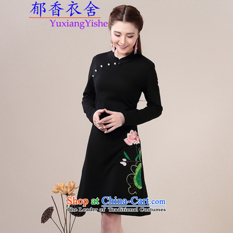 Yu Xiang Yi homes by 2015 skirt improved autumn and winter qipao replacing forming the skirt video thin Ms. Sau San long-sleeved dresses qipao Black?XL