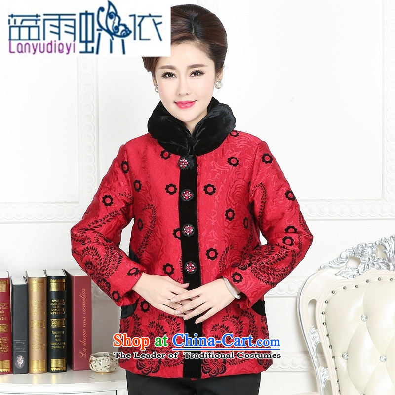 Ya-ting shop in Tang Dynasty older female ?t��a winter clothing China wind load mother Chinese Winter robe, improvement of Tang Dynasty ?T��??XXXL red