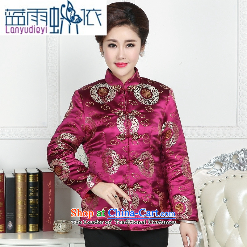 Ya-ting store. Ms. Tang dynasty older Tang jackets mother replacing winter Tang blouses elderly Chinese Tang dynasty winter clothing red XL