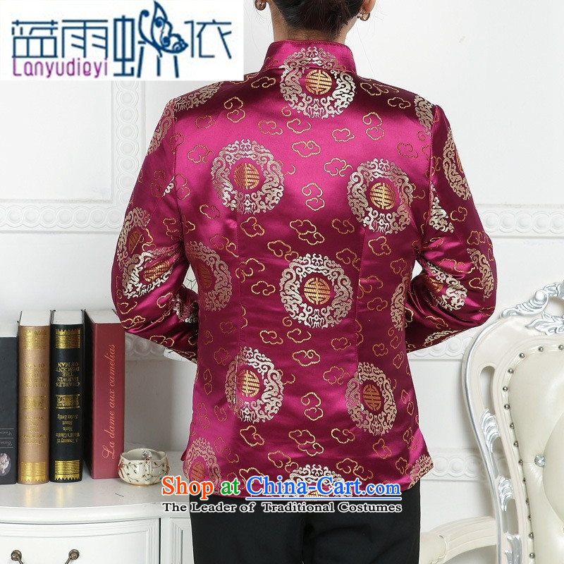 Ya-ting store. Ms. Tang dynasty older Tang jackets mother replacing winter Tang blouses elderly Chinese Tang dynasty winter clothing red blue rain butterfly to XL, , , , shopping on the Internet