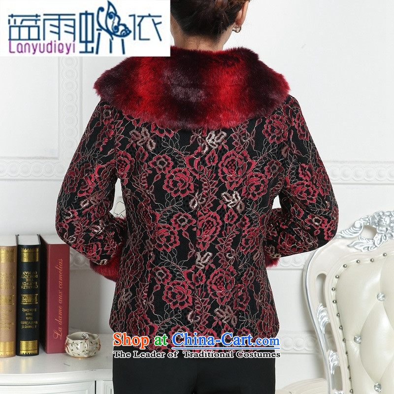 Ya-ting shop in Tang Dynasty older female ãþòâ winter clothing for girls robe thick hair MOM Pack China wind female ãþòâ improved black XXXL, Chinese blue rain butterfly according to , , , shopping on the Internet