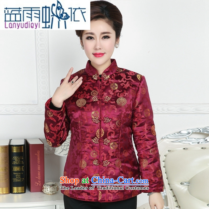 Ya-ting shop in older women's clothes Tang Tang dynasty autumn and winter coats blouses mother happy birthday feast Ms. Tang dynasty dress聽XXXL Purple