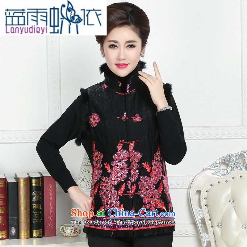 Ya-ting shop in accordance with the contents Tang Tang dynasty national gross for older persons in the vest retro MOM pack autumn and winter camp shoulder female ma folder vest black L