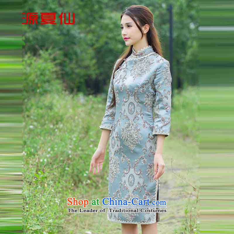 Mr SIN� 2015 court source flower heavyweight click and need to come to grips with embosser embroidery cheongsam dress D map color�L