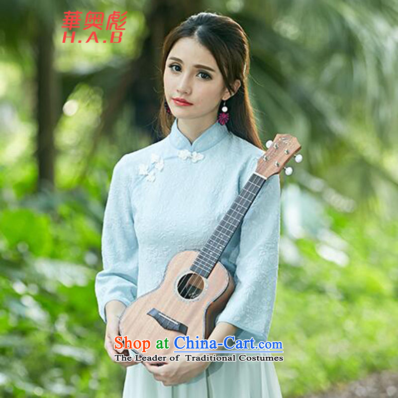Yuen Biao 2015 Olympic Jehovah autumn and winter new women's retro-disc detained qipao shirt stamp costume sleeveless shirts X020 Horn (X021 skirt) light blue?M