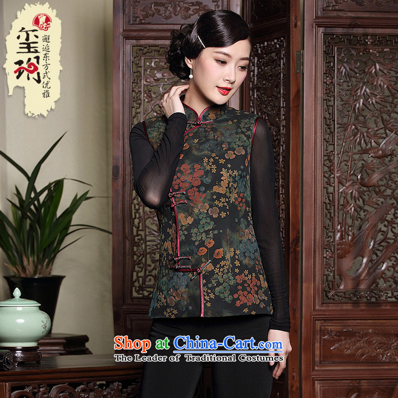 The Seal of autumn and winter ethnic Tang dynasty short-sleeved vest cotton folder silk incense cloud women qipao yarn Chinese shirt, a picture color�M
