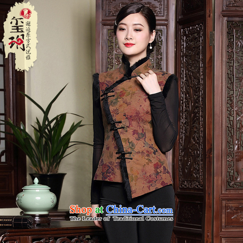 The seal of the original autumn and winter Chinese cotton vest retro folder Tang dynasty incense cloud yarn Silk Cheongsam ethnic shirt color picture�L
