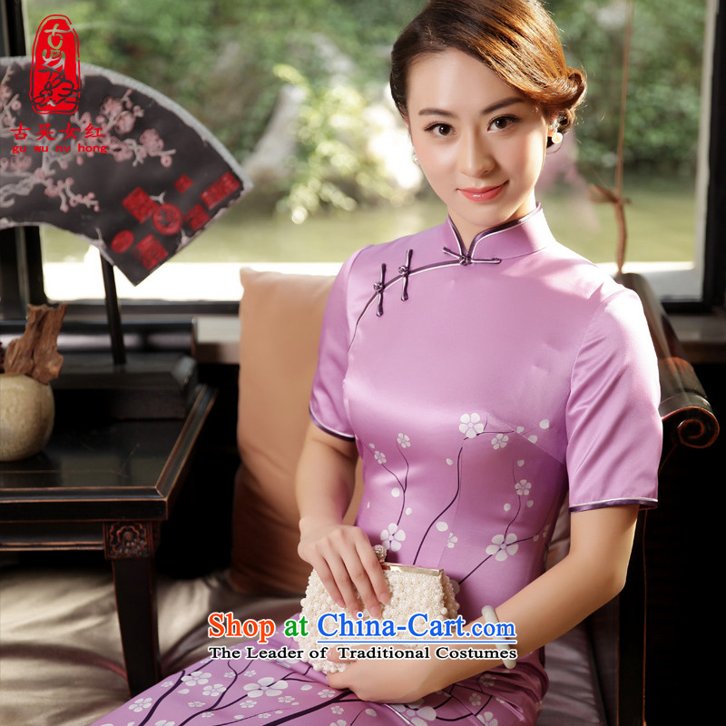 The Wu female red original high-end Fall/Winter Collections of silk cheongsam dress in 2015 New Long of daily cheongsam dress with a light purple�L