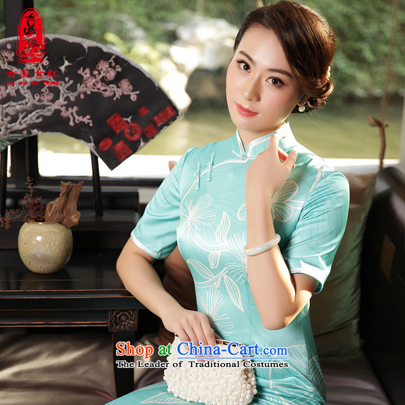 The Wu female red in long silk cheongsam dress in 2015 new cuff high-end herbs extract cheongsam dress skyblue�L