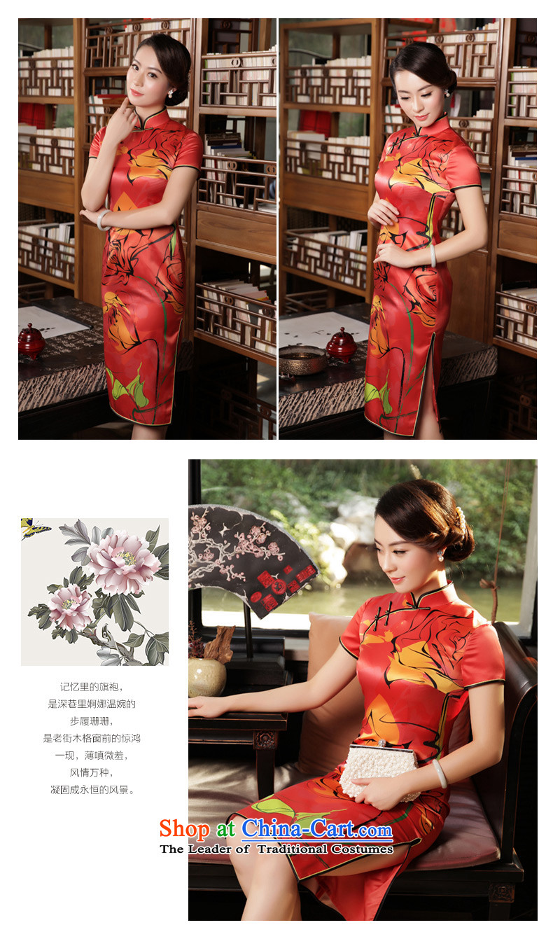 The Wu Female Red Silk Cheongsam 2015 Fall/Winter Collections of daily in the new long in Sau San cheongsam dress cuff dresses red L picture, prices, brand platters! The elections are supplied in the national character of distribution, so action, buy now enjoy more preferential! As soon as possible.
