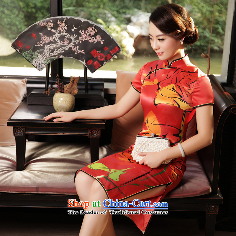 The Wu Female Red Silk Cheongsam 2015 Fall/Winter Collections of daily in the new long in Sau San cheongsam dress cuff dresses red , L, the Wu female red , , , shopping on the Internet