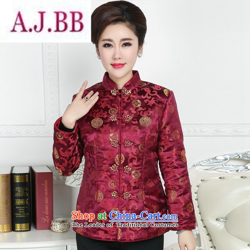 Ms Rebecca Pun and fashion boutiques in older women's clothes Tang Tang dynasty autumn and winter coats blouses mother happy birthday feast Ms. Tang dynasty�5XL Red Dress