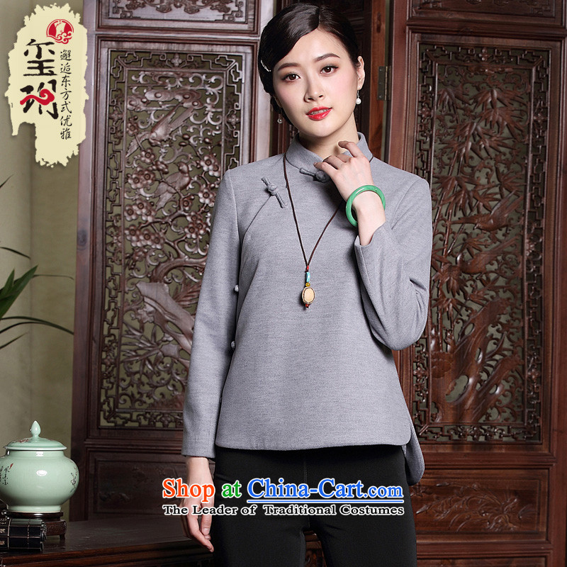 The seal of the winter new original art nouveau style qipao and T-shirt? Tang Dynasty Ms. Gross deduction Han-rom Female Light Gray XL