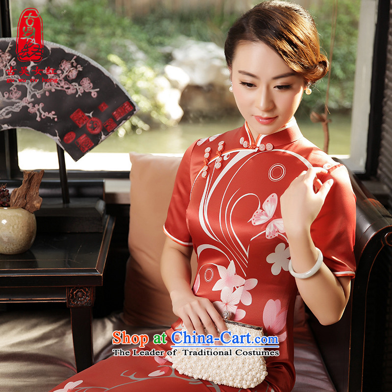 The Wu female red autumn and winter replacing high-end 2015 new daily qipao in Sau San long silk cheongsam dress in cuff red�S