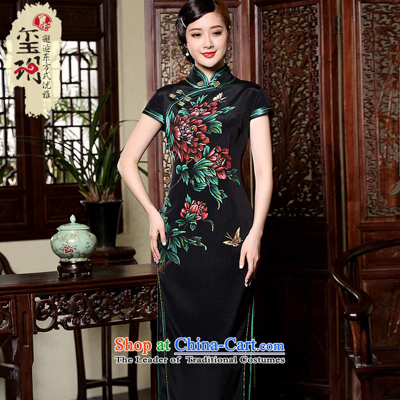 Seal in the peony * eligibility criteria of silk manually trim high-end qipao hand-painted long banquet dress dresses picture color�XXL