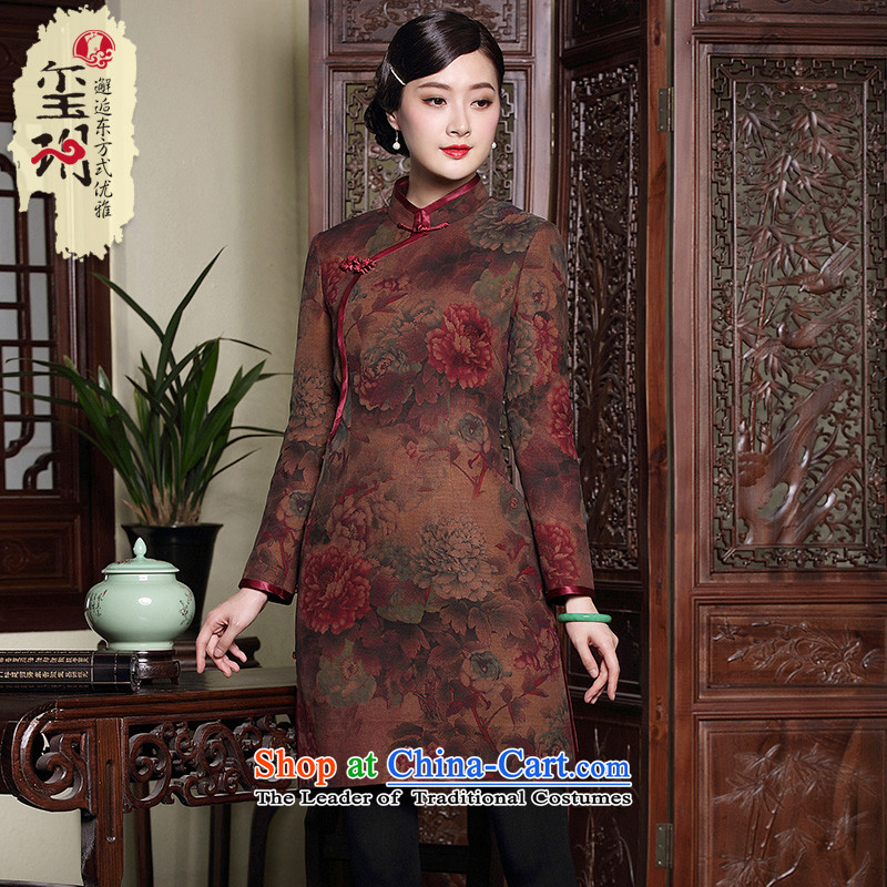 The Seal of autumn and winter new silk and cotton yarn folder cloud of incense qipao shirt retro elegant Tang dynasty 茫镁貌芒 full color pictures of the forklift truck side聽M
