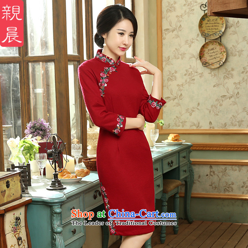 The new 2015 Fall_Winter Collections cheongsam dress long-sleeved wool?   daily retro style improvement of short skirt Red�L