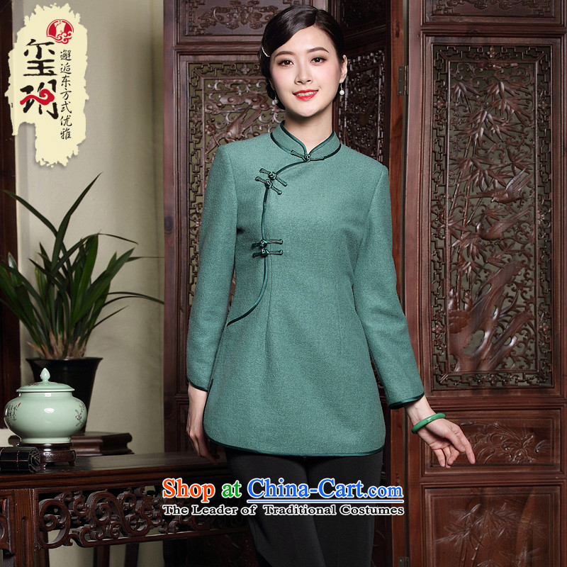 The seal of the winter new low power fork Tang blouses ethnic Chinese wool improved disk port qipao? t-shirt green�L