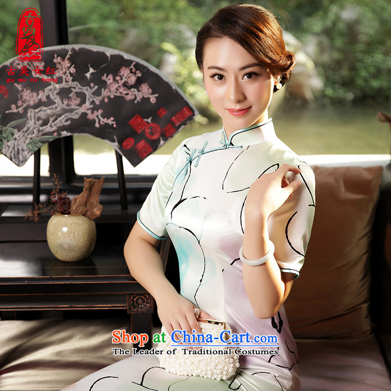 The Wu female red autumn and winter silk cheongsam dress with new daily   2015 in long cheongsam dress green�S