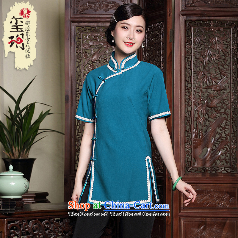 Seal of the new nation 2015 autumn wind Tang blouses retro elegant Chinese female qipao the forklift truck light blue shirt�XXL