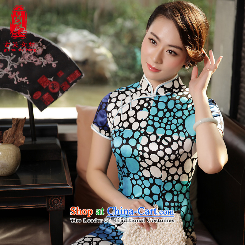 The Wu female red silk cheongsam dress 2015 Fall/Winter Collections of daily new Sau San for high-end herbs extract cheongsam dress Sau San long blue�S