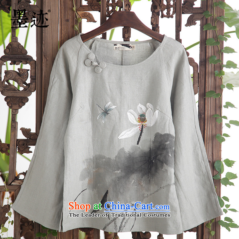 Install the latest Autumn 2015 ink Products Linen Dress Casual long-sleeved Lotus Tang dynasty literary Han-Tea Service Blueish gray燣