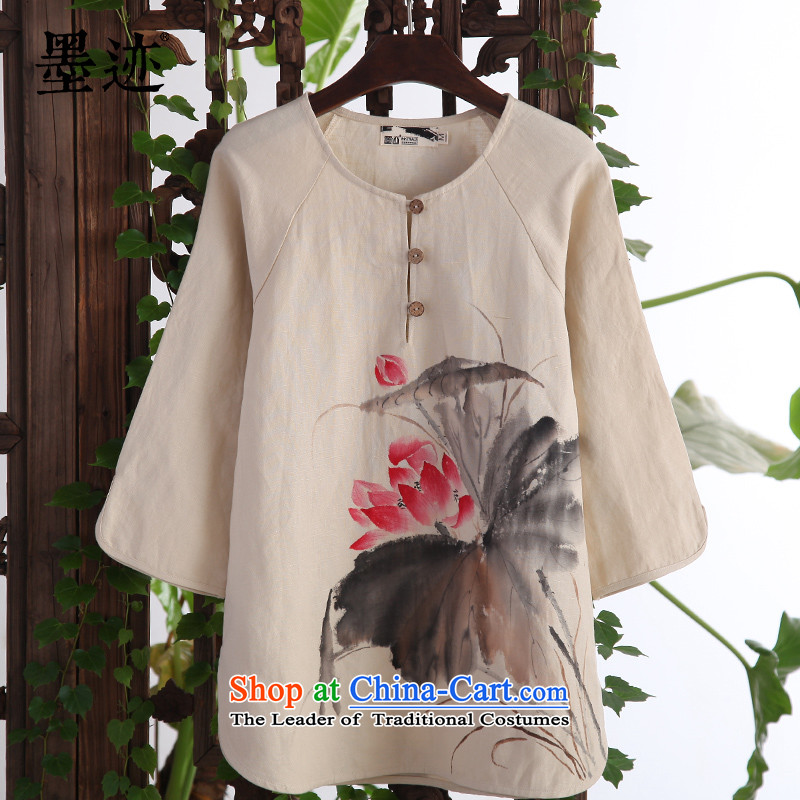 Install the latest Autumn 2015 ink supplies ink intuition of the lotus pond shirt Chinese cotton linen Han-Tang dynasty literary leisure, apricot燲L