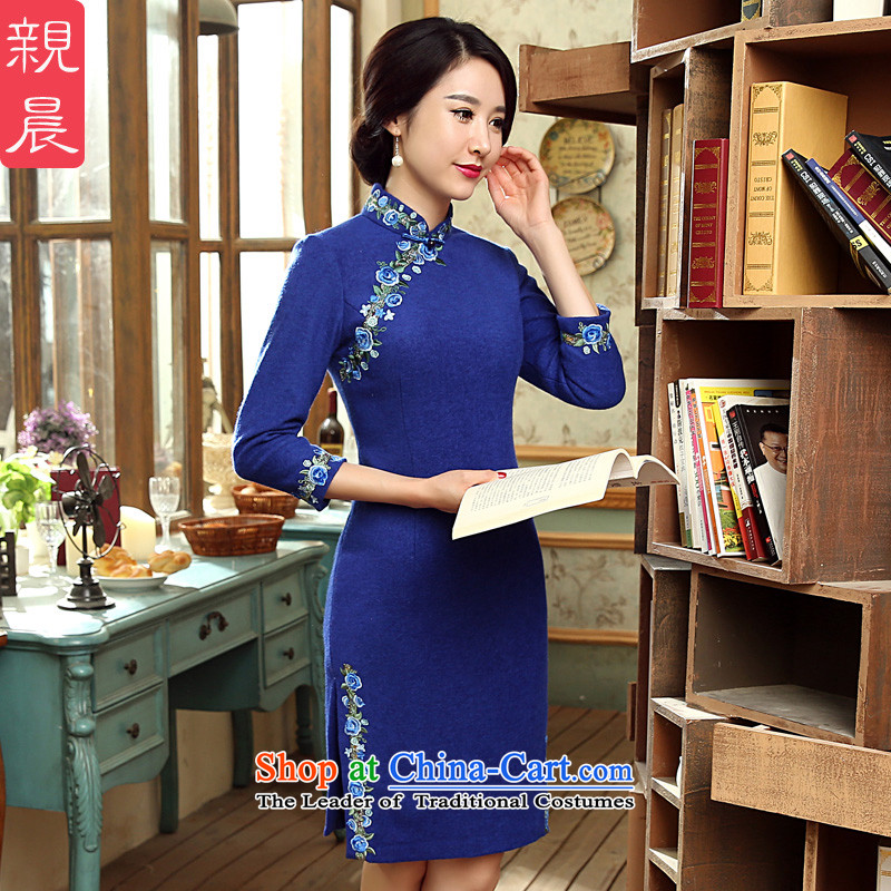Replace cheongsam dress autumn and winter day-to-day short of New 2015 long-sleeved wool Stylish retro improvement?   blue skirt�S