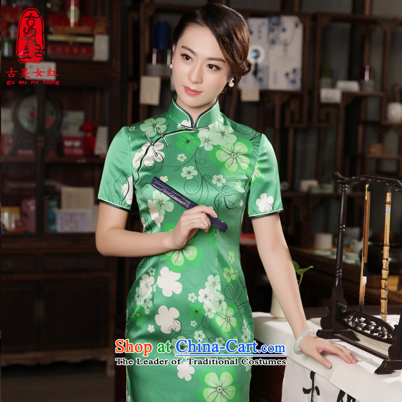 The Wu Female Red Fall_Winter Collections of Silk Cheongsam 2015 new daily in the Sau San long cheongsam dress dress Army Green燬