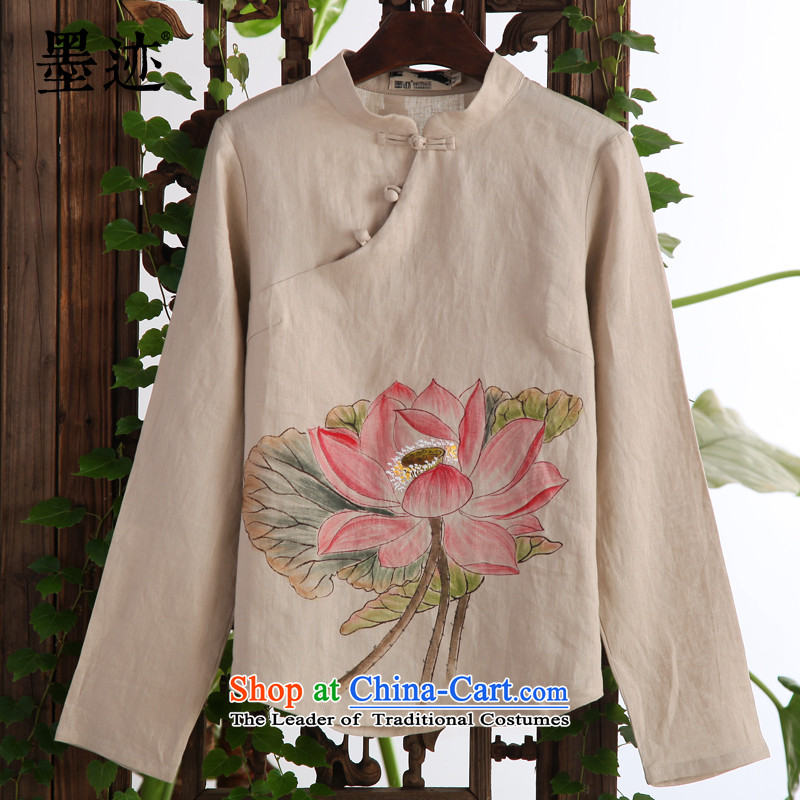 Ink water fall 2015 ink intuition of the lotus pond new linen improved Tang blouses retro Han-National wind, orange燤