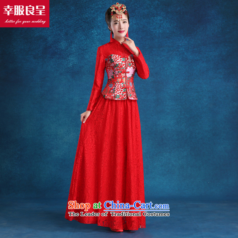 The privilege of serving the bride-leung bows qipao red wedding services long large winter wedding dress costume hi-red long long-sleeved + model with 68 Head Ornaments?S-- concept of province package for _10