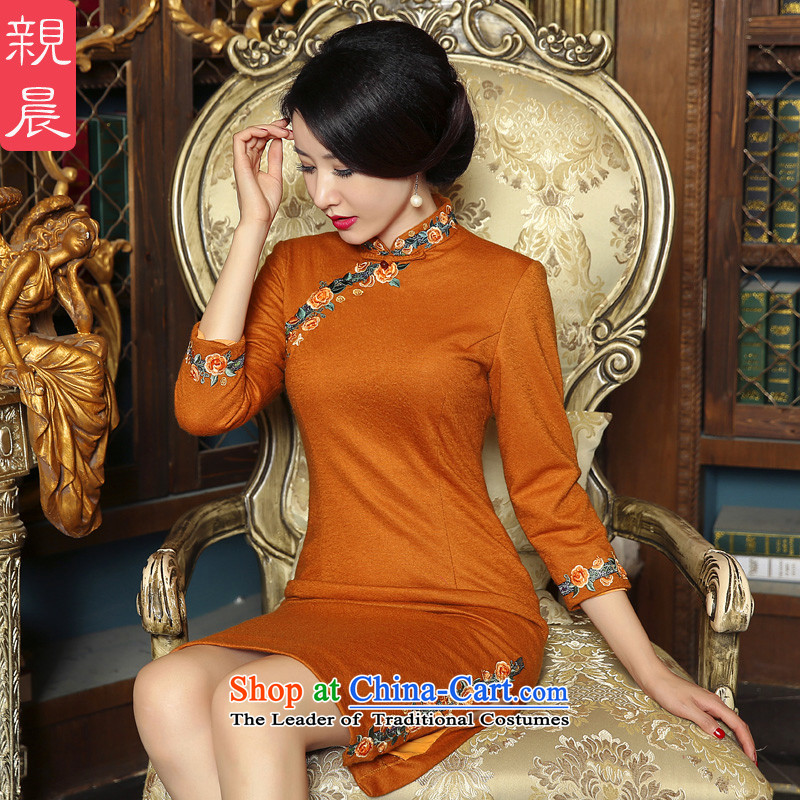 2015 new cheongsam dress Fall/Winter Collections daily wool?   Improved Stylish retro short of long-sleeved dresses orange?XL