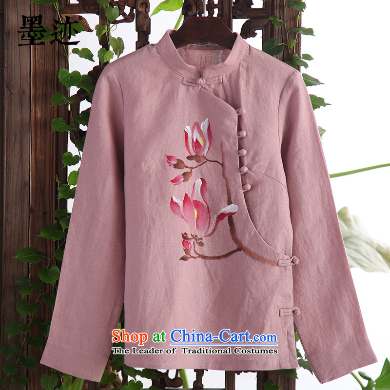 Install the latest Autumn 2015 ink products linen clothes female hand-painted Magnolia Tang Gown of ethnic Han-arts girls improved Red Ochre?L