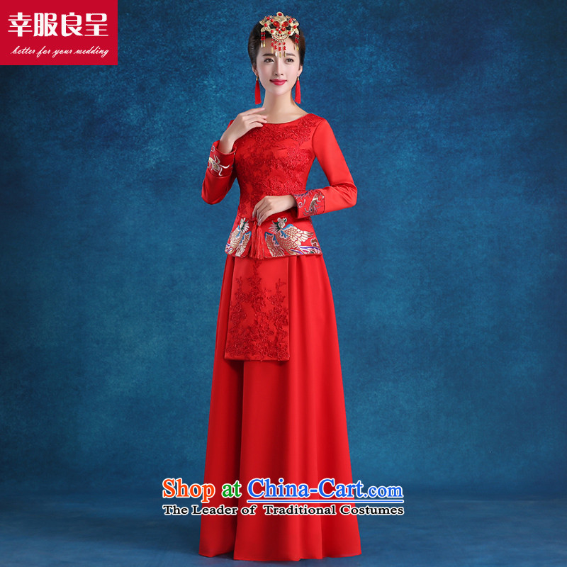 The privilege of serving-leung bows to new qipao winter clothing red wedding dress bride wedding dress costume Sau Wo service long-sleeved red long + model with 68 Head Ornaments燲L-- concept of province package for _10